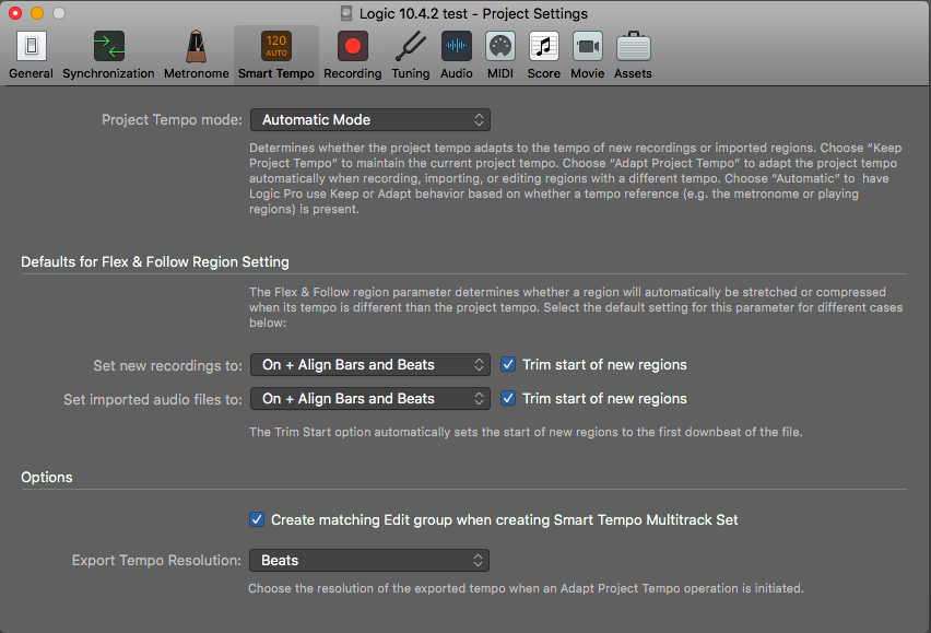 Smart Tempo Project Settings
